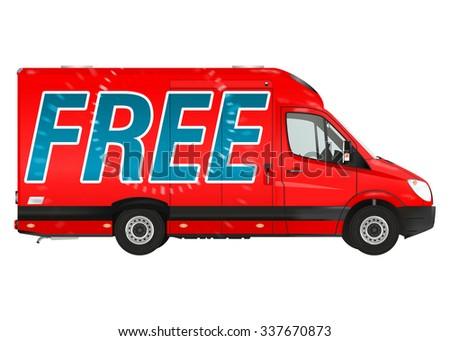 Free. Red courier van on the white background. Raster illustration. - stock photo