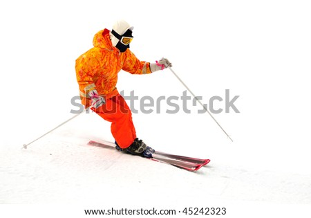 Free rider ski on the mountain isolated on white - stock photo
