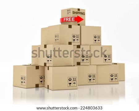 Free shipping ardboard boxes isolated on white background - stock photo