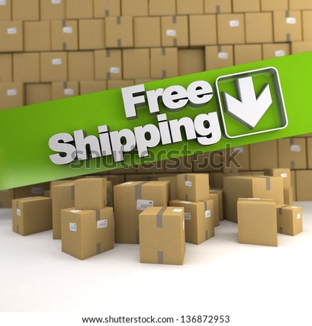 Free shipping banner on a background with piles of boxes - stock photo