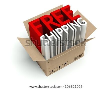 Free shipping cardboard box isolated on white background - stock photo