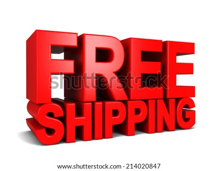 Free shipping. 3d illustration isolated on white background  - stock photo
