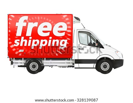 Free shipping. Modern van on the white background. Raster illustration. - stock photo