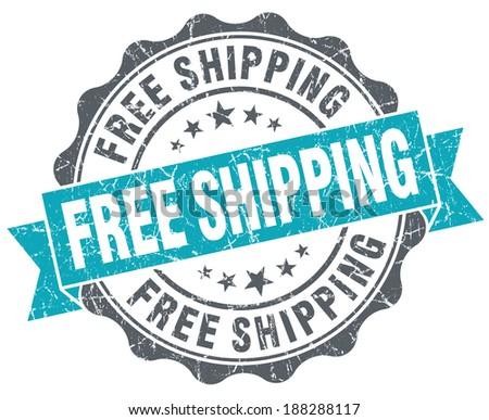 Free shipping turquoise grunge retro vintage isolated seal - stock photo
