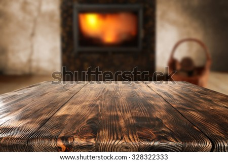 free space on table and fire  - stock photo
