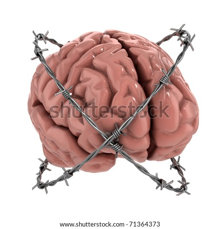 Free thought, censorship, freedom of speech 3d concept - human brain under barbwire over white background - stock photo