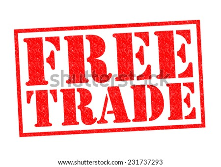 FREE TRADE red Rubber Stamp over a white background. - stock photo