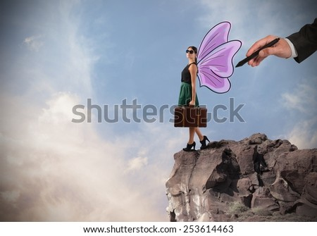 Free traveler go anywhere like a butterfly - stock photo
