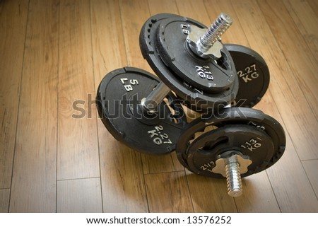 Free weights sitting on a wood floor - the perfect accessory to any home gym. - stock photo
