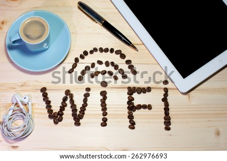 Free WiFi area coffee in a business table - stock photo
