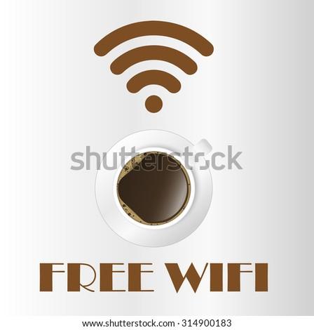 Free wifi cafe sticker - stock photo
