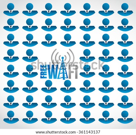 free wifi for business. people background sign illustration design graphic - stock photo