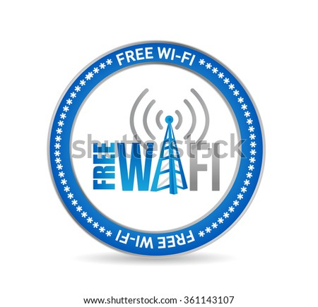 free wifi seal concept sign illustration design graphic - stock photo