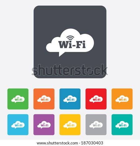 Free wifi sign. Wifi symbol. Wireless Network icon. Wifi zone. Rounded squares 11 buttons. - stock photo