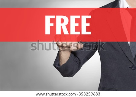Free word Business man touching on red tab virtual screen for business concept - stock photo