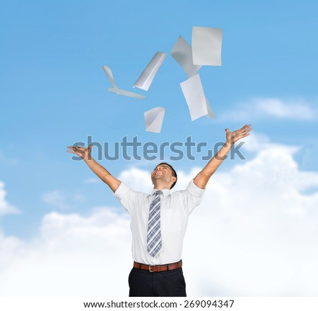 Freedom. Businessman throwing papers - stock photo