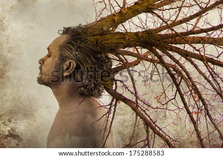 Freedom concept,man with tree branches coming out of his head, ideas, concepts - stock photo