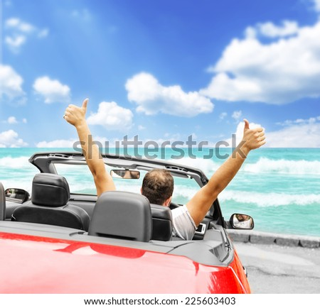 Freedom - happy free man in the car - stock photo