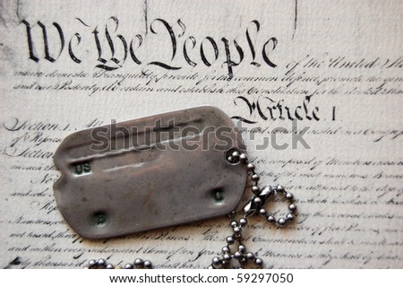 Freedom is not free . Dog tag on American Constitution - stock photo