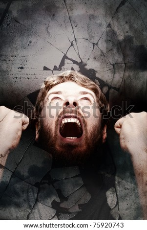 Freedom revolution concept. Scream of angry furious man - stock photo