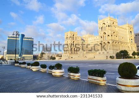 Freedom square in Baku, Azerbaijan - stock photo