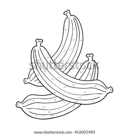 freehand drawn black and white cartoon bananas - stock photo