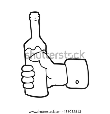 freehand drawn black and white cartoon hand holding bottle of wine - stock photo