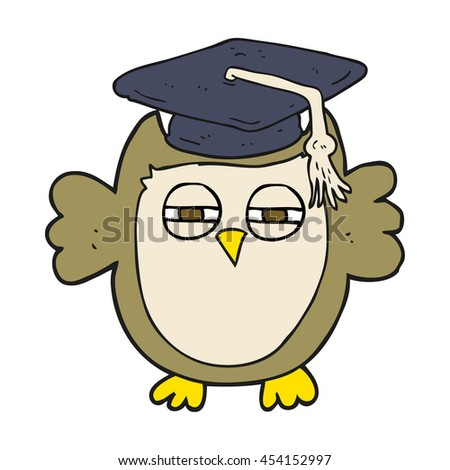 freehand drawn cartoon clever owl - stock photo