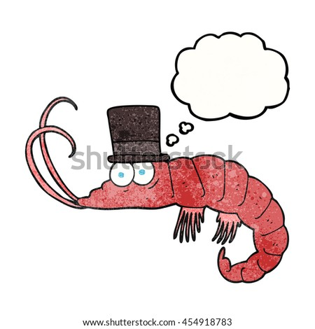 freehand drawn thought bubble textured cartoon shrimp - stock photo