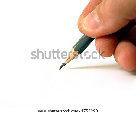 freehand pencil to blank white background - stock photo