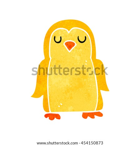 freehand retro cartoon bird - stock photo