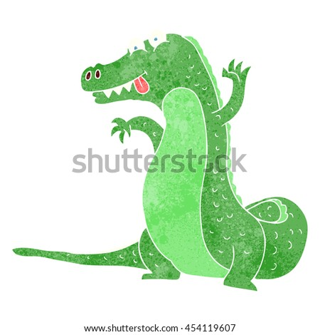 freehand retro cartoon crocodile - stock photo