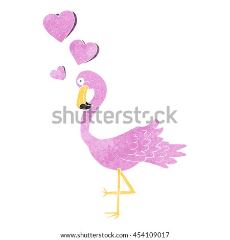 freehand retro cartoon flamingo in love - stock photo