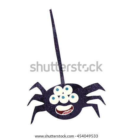 freehand retro cartoon halloween spider - stock photo