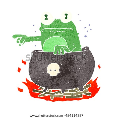 freehand retro cartoon halloween toad in cauldron - stock photo