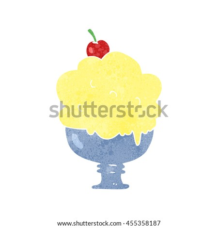 freehand retro cartoon ice cream - stock photo