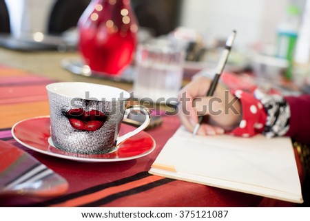 Freelancer during the work in home office - stock photo