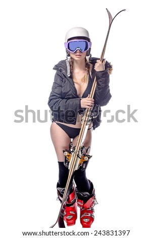 Freeride naked girl is posing with ski isolated on white - stock photo