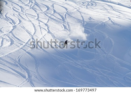 Freeride, tracks on a slope - stock photo