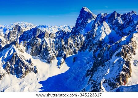 Freeski - Valle Blanche starting point from the Aiguille du Midi, Mont Blanc, Chamonix - stock photo