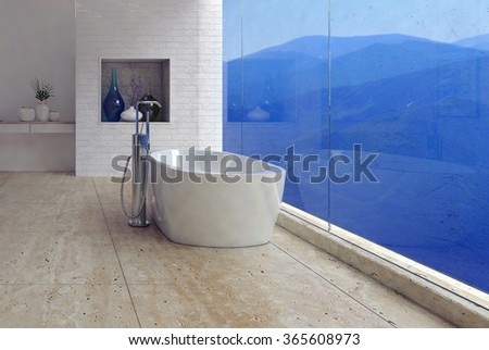 Freestanding bathtub with a panoramic mountain view through a glass wall in a luxury modern bathroom interior. 3d Rendering. - stock photo