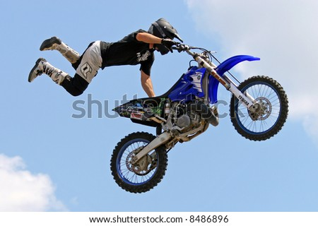 Freestyle Motocross Motorcycle Jumping. - stock photo