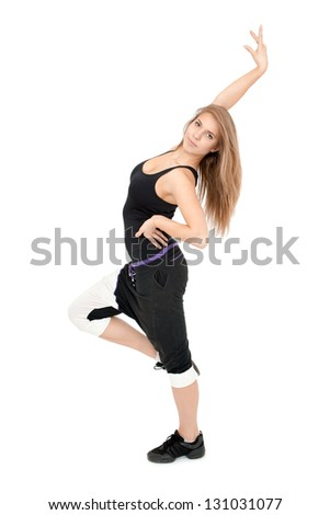 Freestyle stretchy woman dancer against white background. - stock photo