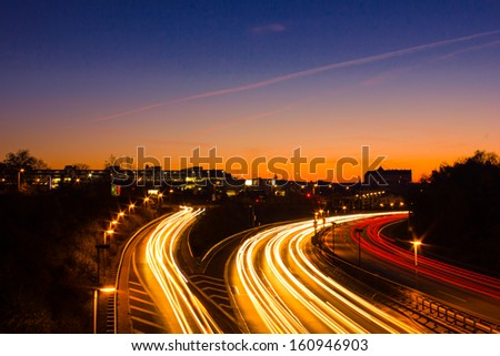 Freeway at night - stock photo