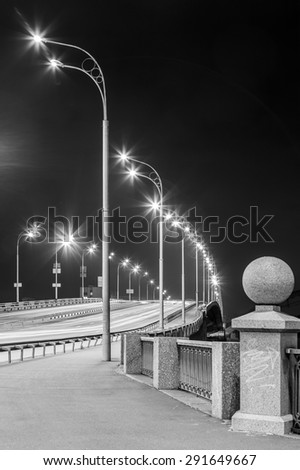 Freeway at night. Black and white. - stock photo