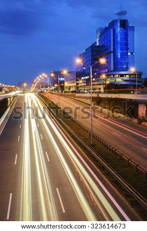 Freeway in centre of Katowice, Poland in the evening. - stock photo