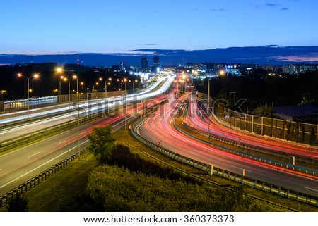 Freeway in Katowice, Poland in the night. - stock photo