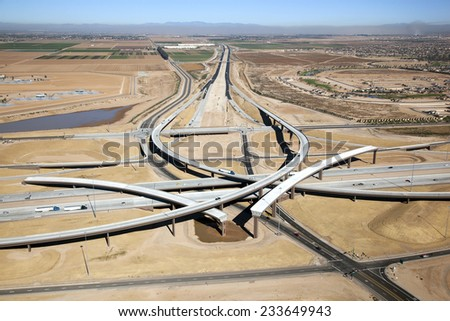 Freeway Interchange - stock photo