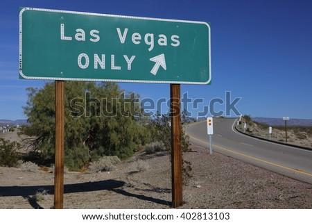 "Freeway On ramp sign saying """"Las Vegas Only"""", Interstate highway 15 - stock photo"