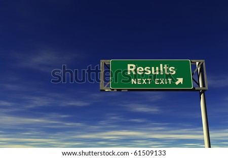 Freeway Sign - Results! - stock photo